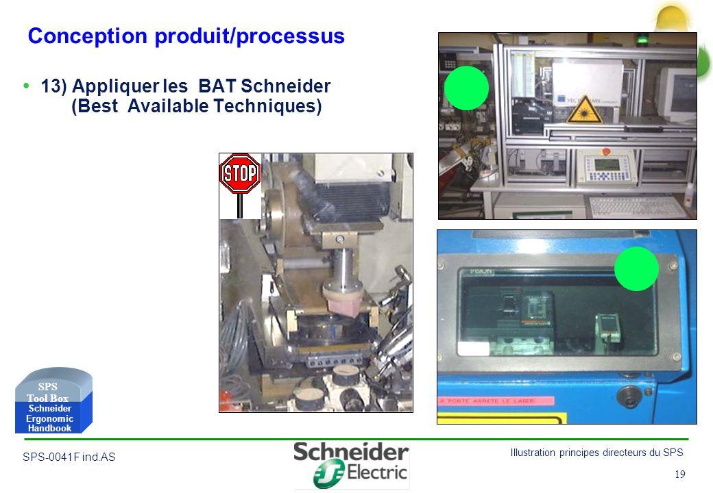 19 Illustration principes directeurs du SPS SPS-0041F ind.AS 19 Conception produit/processus 13) Appliquer les BAT Schneider (Best Available Technique