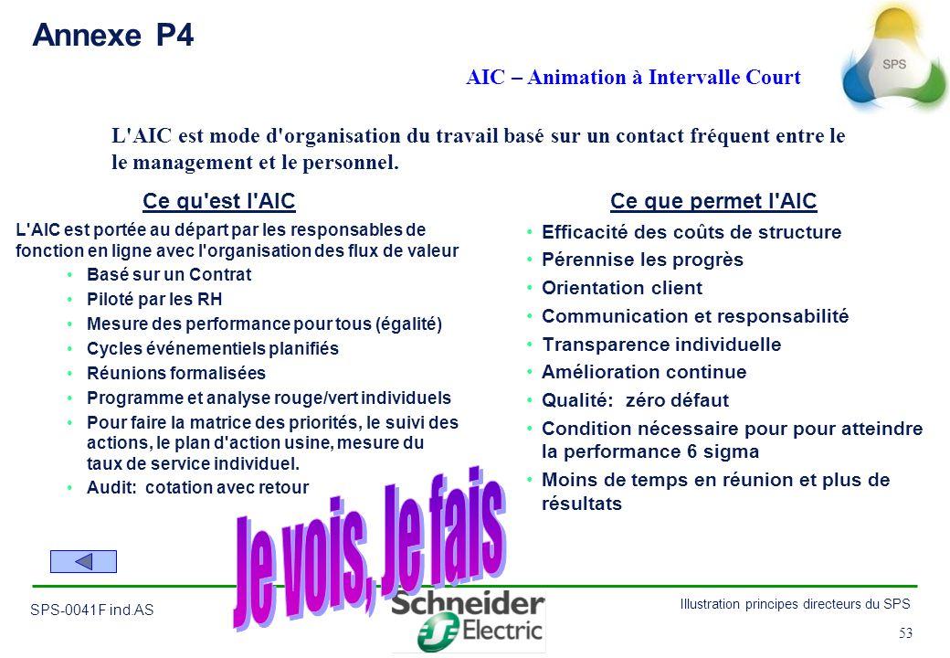 53 Illustration principes directeurs du SPS SPS-0041F ind.AS 53 Efficacité des coûts de structure Pérennise les progrès Orientation client Communicati