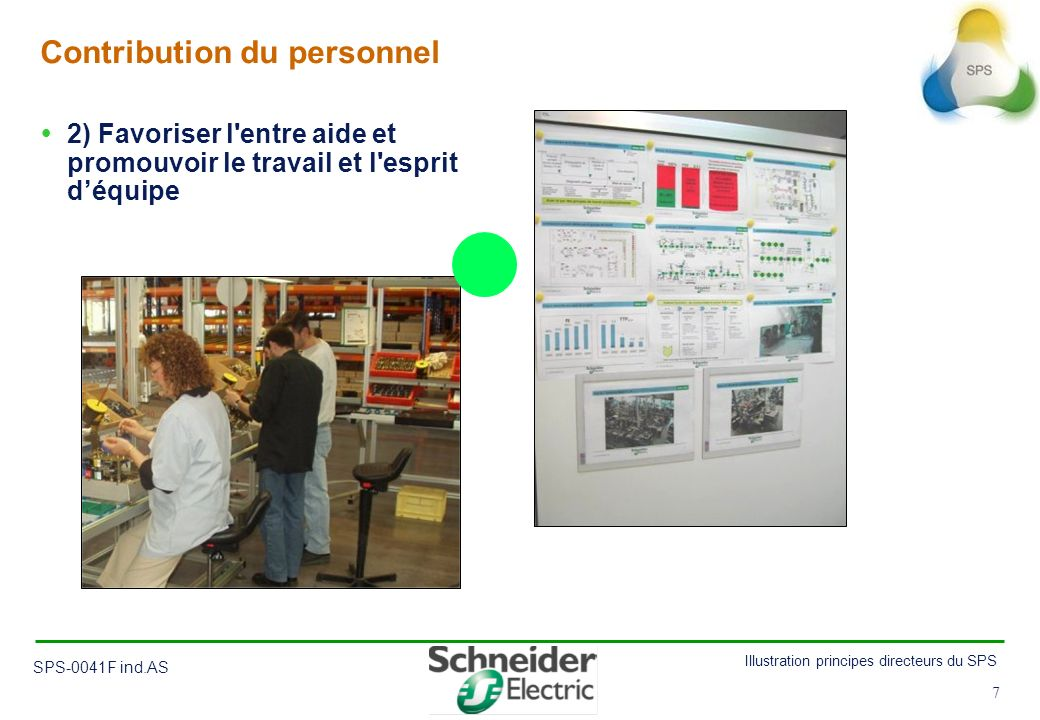 7 Illustration principes directeurs du SPS SPS-0041F ind.AS 7 Contribution du personnel 2) Favoriser l'entre aide et promouvoir le travail et l'esprit