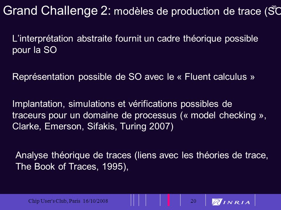 20 Chip User s Club, Paris 16/10/200820 Grand Challenge 2: modèles de production de trace (SO) Linterprétation abstraite fournit un cadre théorique possible pour la SO Représentation possible de SO avec le « Fluent calculus » Implantation, simulations et vérifications possibles de traceurs pour un domaine de processus (« model checking », Clarke, Emerson, Sifakis, Turing 2007) Analyse théorique de traces (liens avec les théories de trace, The Book of Traces, 1995),