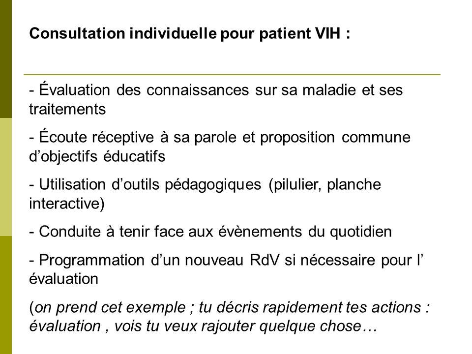Consultation individuelle pour patient VIH : - Évaluation des connaissances sur sa maladie et ses traitements - Écoute réceptive à sa parole et propos