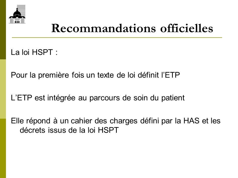 Recommandations officielles La loi HSPT : Pour la première fois un texte de loi définit lETP LETP est intégrée au parcours de soin du patient Elle rép