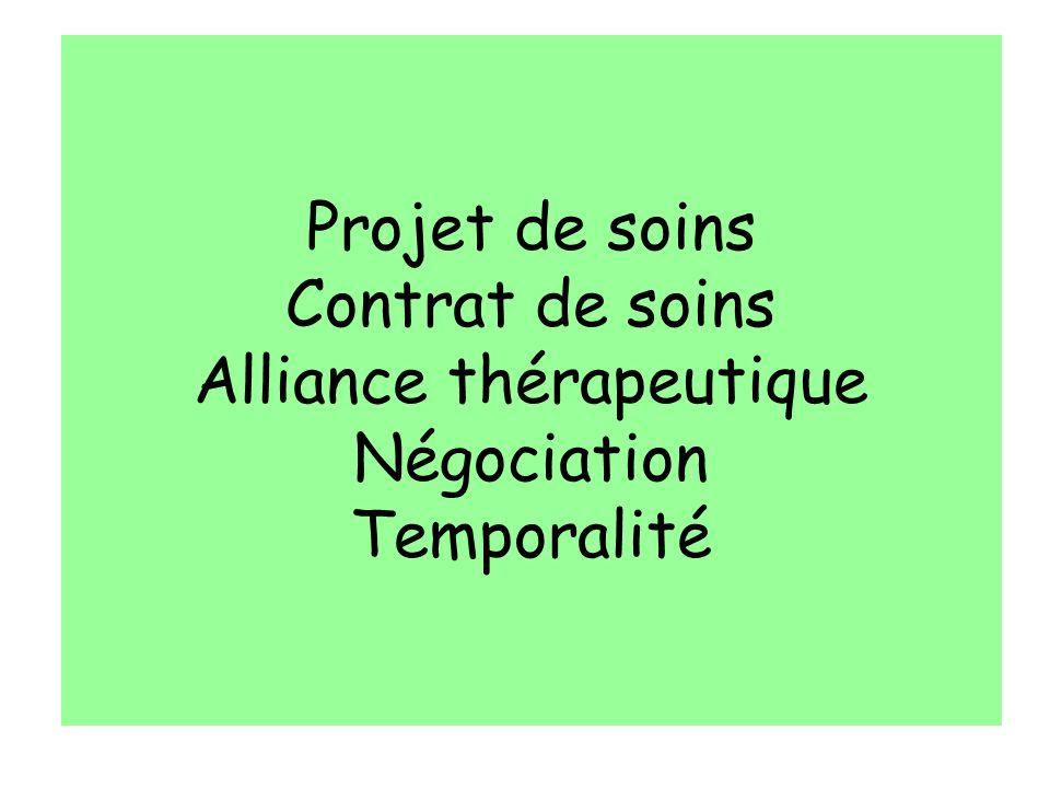 Projet de soins Contrat de soins Alliance thérapeutique Négociation Temporalité