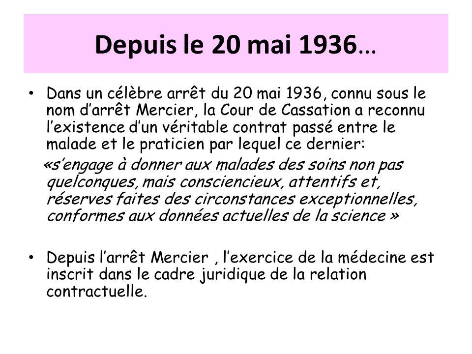 Depuis le 20 mai 1936… Dans un célèbre arrêt du 20 mai 1936, connu sous le nom darrêt Mercier, la Cour de Cassation a reconnu lexistence dun véritable