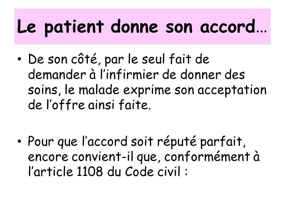 Le patient donne son accord … De son côté, par le seul fait de demander à linfirmier de donner des soins, le malade exprime son acceptation de loffre