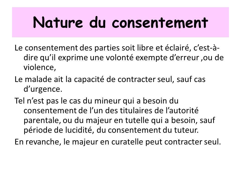 Nature du consentement Le consentement des parties soit libre et éclairé, cest-à- dire quil exprime une volonté exempte derreur,ou de violence, Le mal