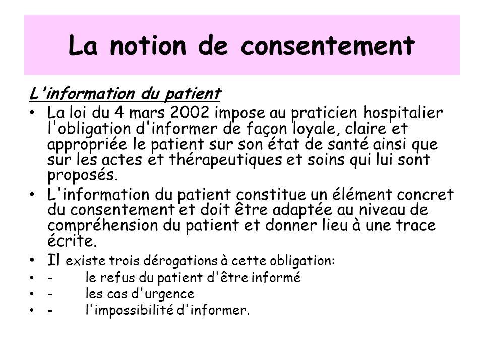 La notion de consentement L'information du patient La loi du 4 mars 2002 impose au praticien hospitalier l'obligation d'informer de façon loyale, clai