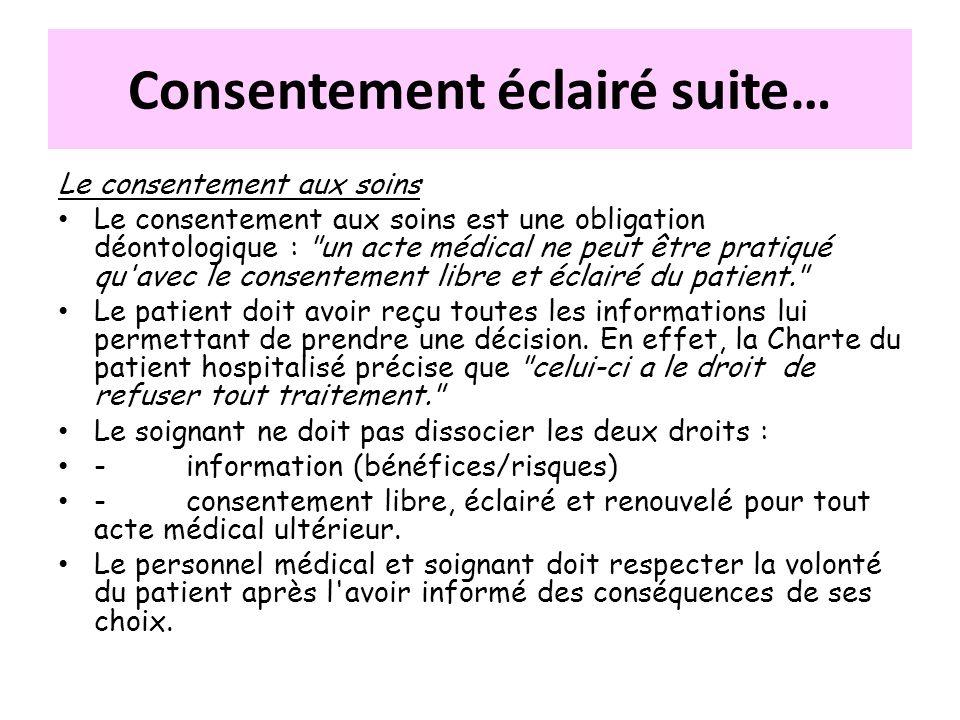 Le consentement aux soins Le consentement aux soins est une obligation déontologique :
