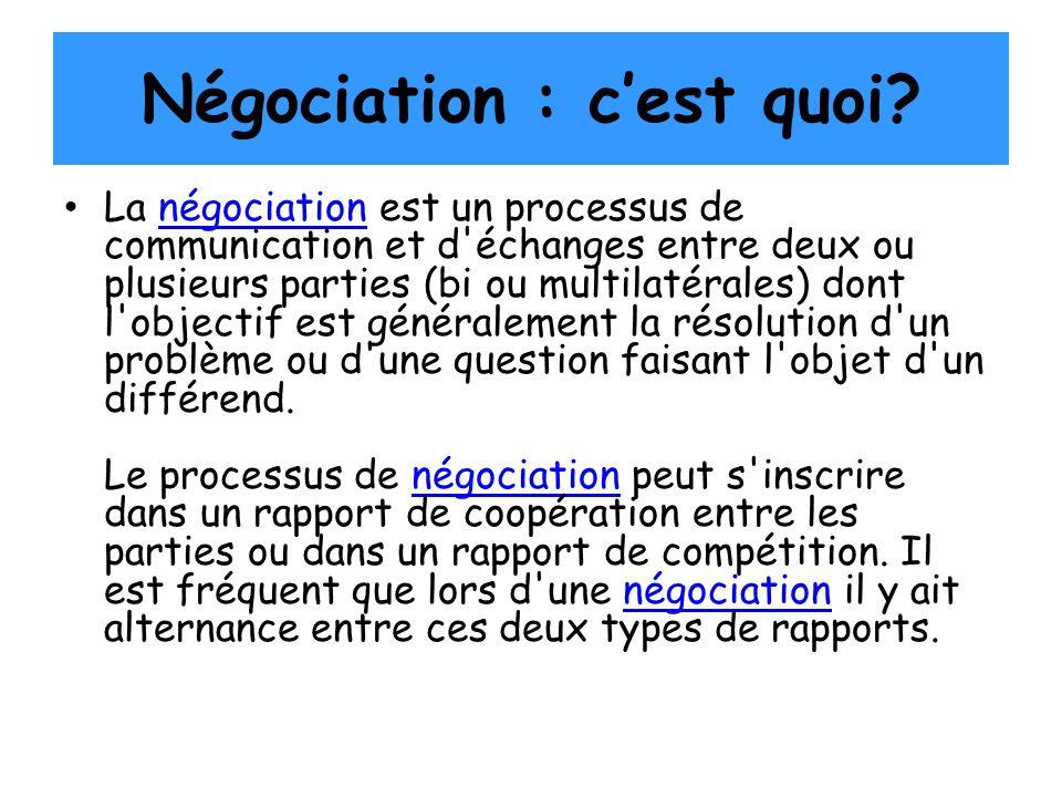 Négociation : cest quoi? La négociation est un processus de communication et d'échanges entre deux ou plusieurs parties (bi ou multilatérales) dont l'