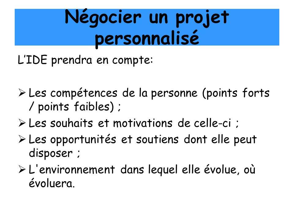 Négocier un projet personnalisé LIDE prendra en compte: Les compétences de la personne (points forts / points faibles) ; Les souhaits et motivations d