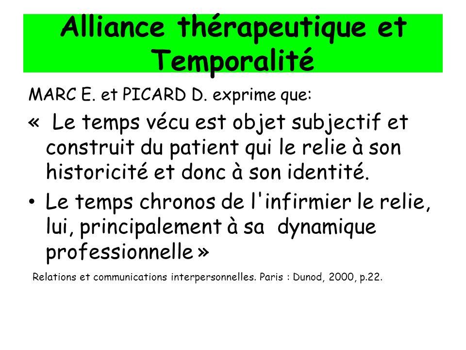 Alliance thérapeutique et Temporalité MARC E. et PICARD D. exprime que: « Le temps vécu est objet subjectif et construit du patient qui le relie à son