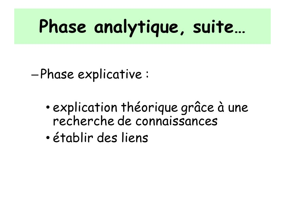 Phase analytique, suite… – Phase explicative : explication théorique grâce à une recherche de connaissances établir des liens