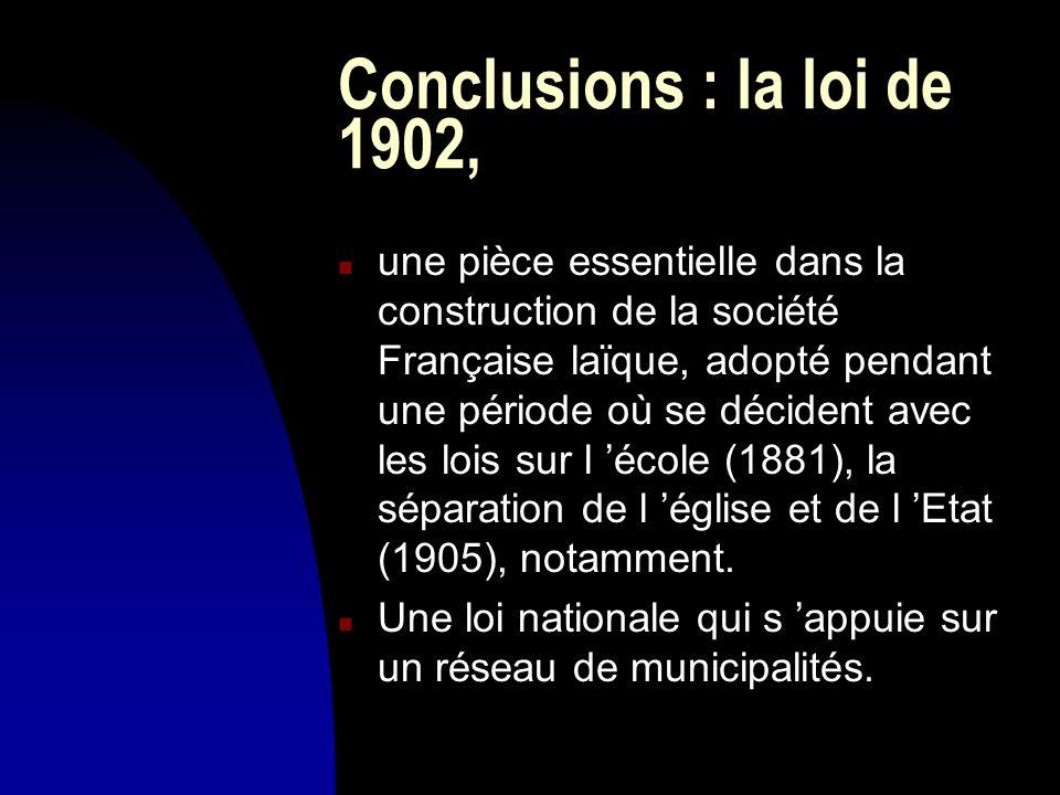 Conclusions : la loi de 1902, n une pièce essentielle dans la construction de la société Française laïque, adopté pendant une période où se décident a