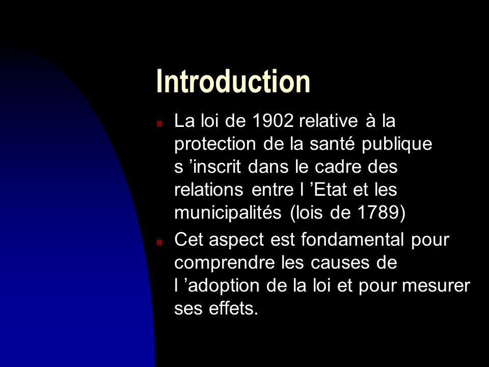 Introduction n La loi de 1902 relative à la protection de la santé publique s inscrit dans le cadre des relations entre l Etat et les municipalités (l