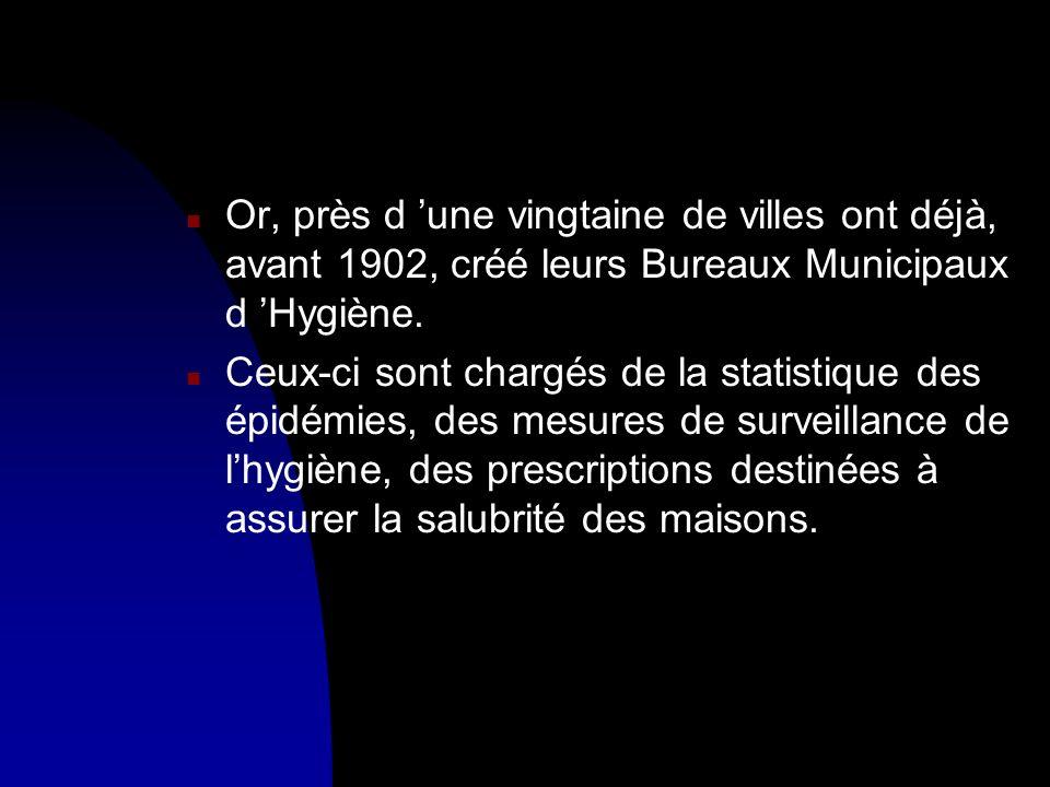 n Or, près d une vingtaine de villes ont déjà, avant 1902, créé leurs Bureaux Municipaux d Hygiène. n Ceux-ci sont chargés de la statistique des épidé
