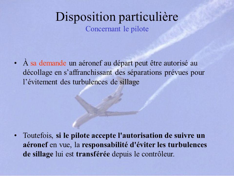 Disposition particulière Concernant le pilote À sa demande un aéronef au départ peut être autorisé au décollage en saffranchissant des séparations pré