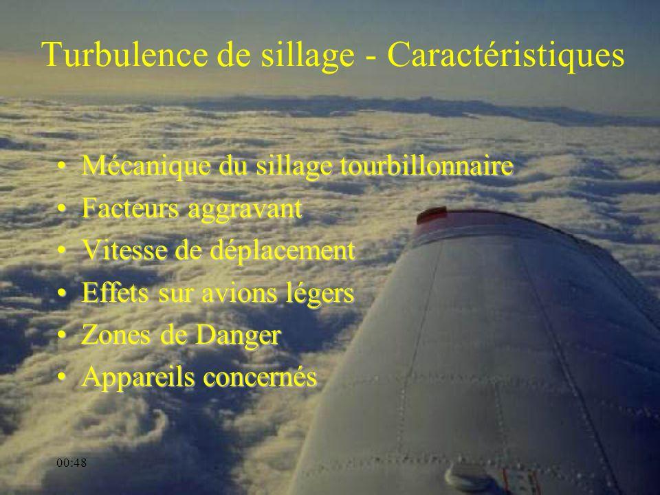 00:50 Turbulence de sillage - Caractéristiques Mécanique du sillage tourbillonnaireMécanique du sillage tourbillonnaire Facteurs aggravantFacteurs agg