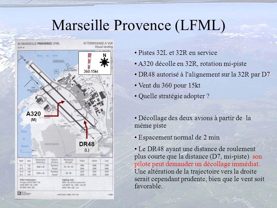 00:50 Marseille Provence (LFML) Pistes 32L et 32R en service A320 décolle en 32R, rotation mi-piste DR48 autorisé à l'alignement sur la 32R par D7 Ven
