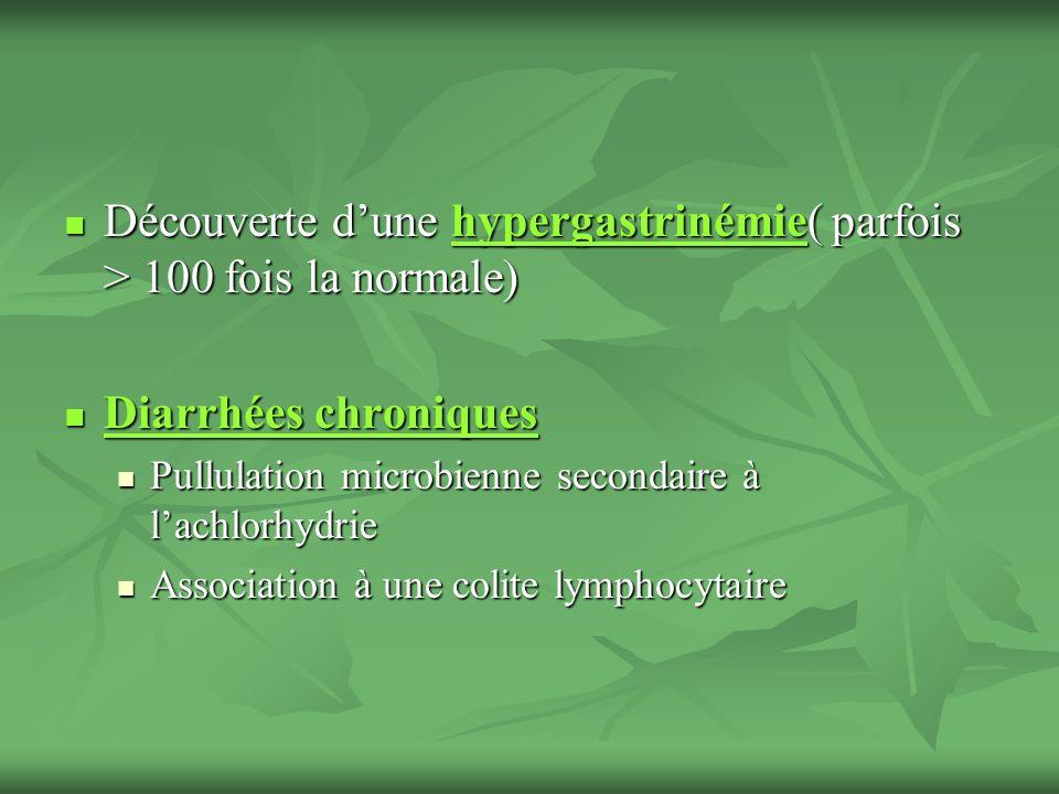 Découverte dune hypergastrinémie( parfois > 100 fois la normale) Découverte dune hypergastrinémie( parfois > 100 fois la normale) Diarrhées chroniques