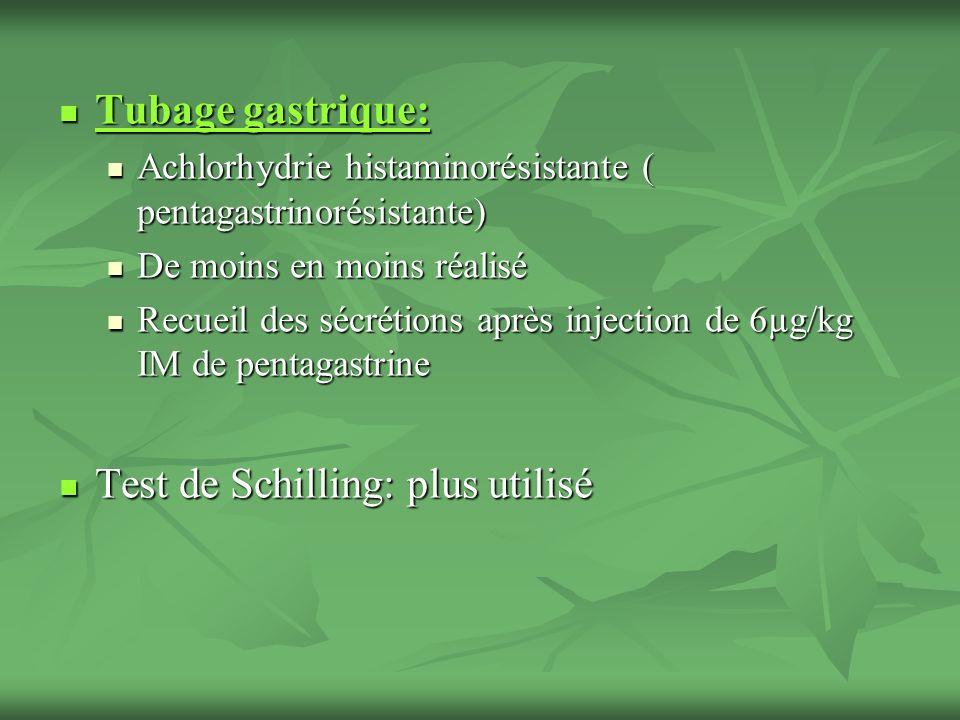 Tubage gastrique: Tubage gastrique: Achlorhydrie histaminorésistante ( pentagastrinorésistante) Achlorhydrie histaminorésistante ( pentagastrinorésist