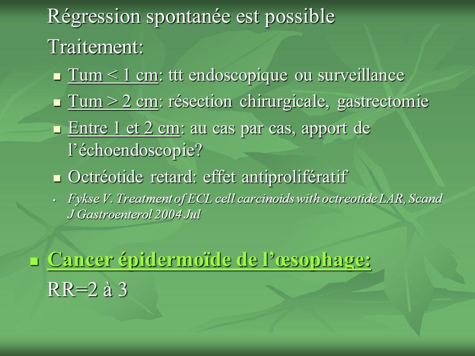 Régression spontanée est possible Traitement: Tum < 1 cm: ttt endoscopique ou surveillance Tum < 1 cm: ttt endoscopique ou surveillance Tum > 2 cm: ré