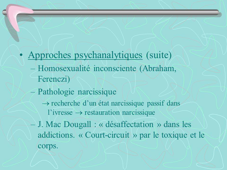 Approches psychanalytiques (suite) –Homosexualité inconsciente (Abraham, Ferenczi) –Pathologie narcissique recherche dun état narcissique passif dans