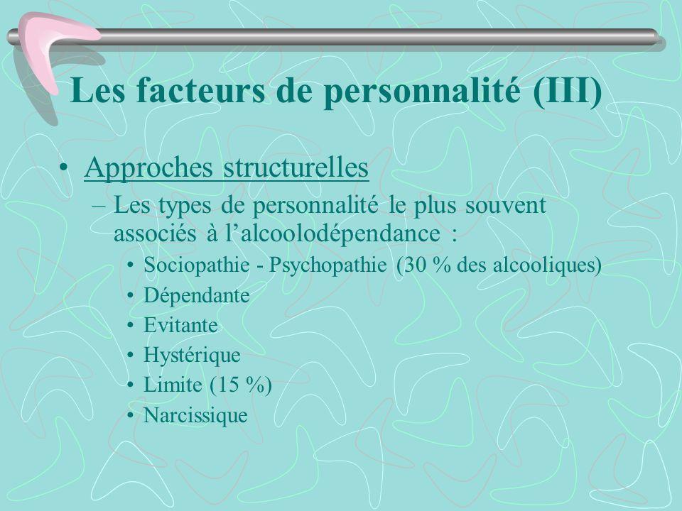 Les facteurs de personnalité (III) Approches structurelles –Les types de personnalité le plus souvent associés à lalcoolodépendance : Sociopathie - Ps