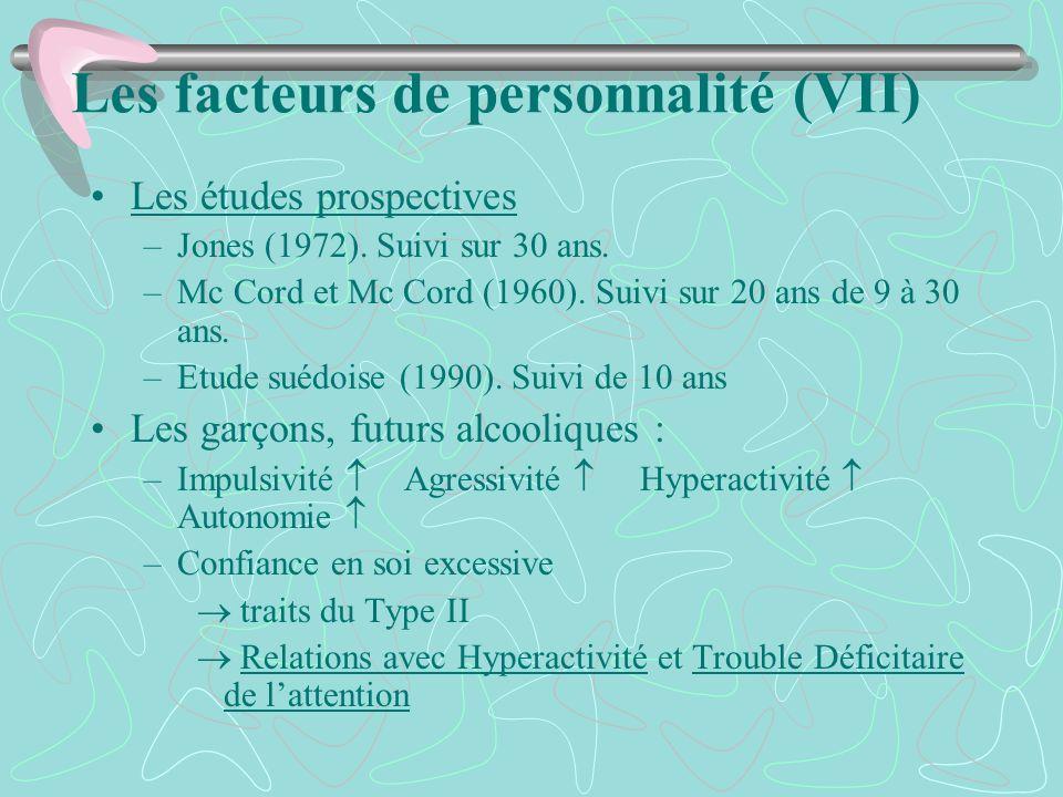 Les facteurs de personnalité (VII) Les études prospectives –Jones (1972). Suivi sur 30 ans. –Mc Cord et Mc Cord (1960). Suivi sur 20 ans de 9 à 30 ans