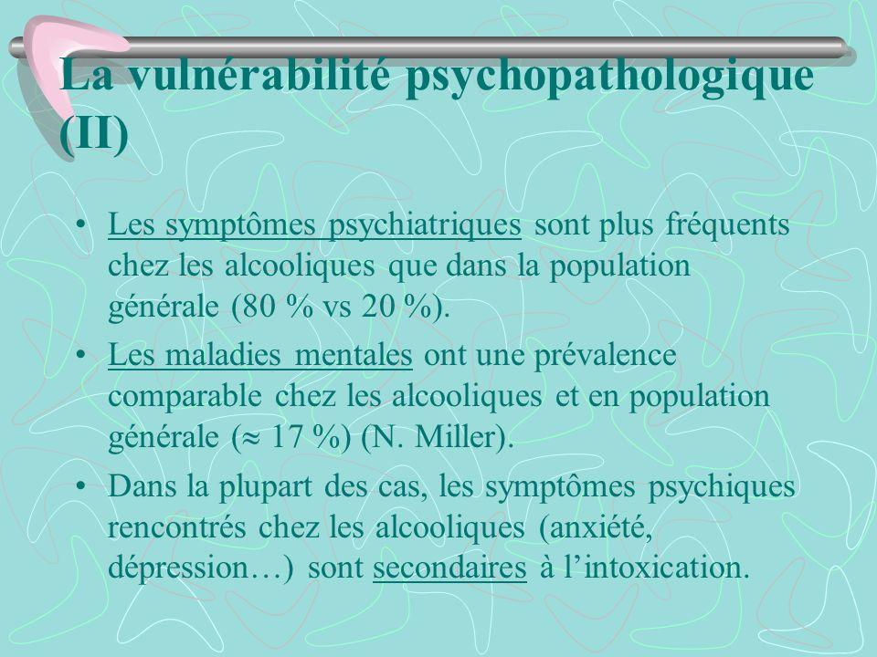 La vulnérabilité psychopathologique (II) Les symptômes psychiatriques sont plus fréquents chez les alcooliques que dans la population générale (80 % v