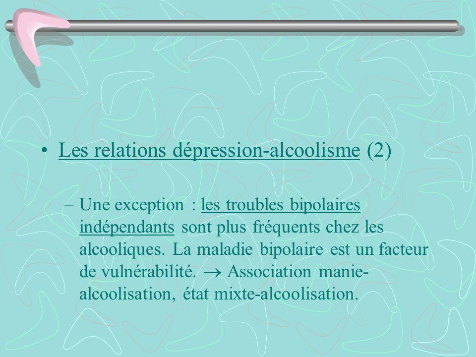Les relations dépression-alcoolisme (2) –Une exception : les troubles bipolaires indépendants sont plus fréquents chez les alcooliques. La maladie bip