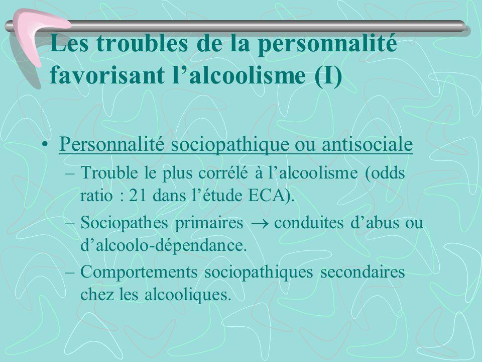 Les troubles de la personnalité favorisant lalcoolisme (I) Personnalité sociopathique ou antisociale –Trouble le plus corrélé à lalcoolisme (odds rati
