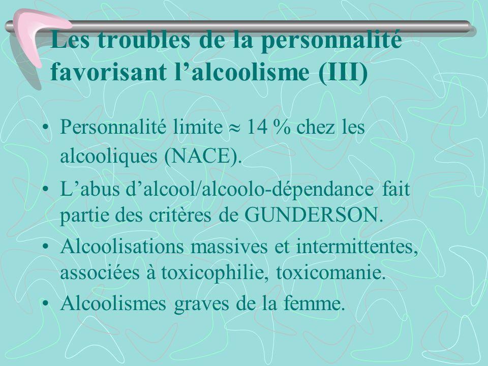 Les troubles de la personnalité favorisant lalcoolisme (III) Personnalité limite 14 % chez les alcooliques (NACE). Labus dalcool/alcoolo-dépendance fa
