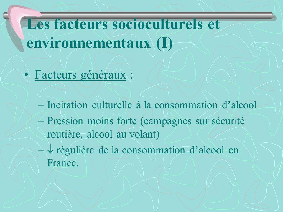 Les facteurs socioculturels et environnementaux (I) Facteurs généraux : –Incitation culturelle à la consommation dalcool –Pression moins forte (campag