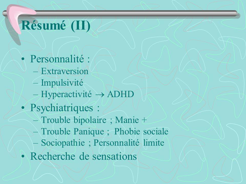Résumé (II) Personnalité : –Extraversion –Impulsivité –Hyperactivité ADHD Psychiatriques : –Trouble bipolaire ; Manie + –Trouble Panique ; Phobie soci