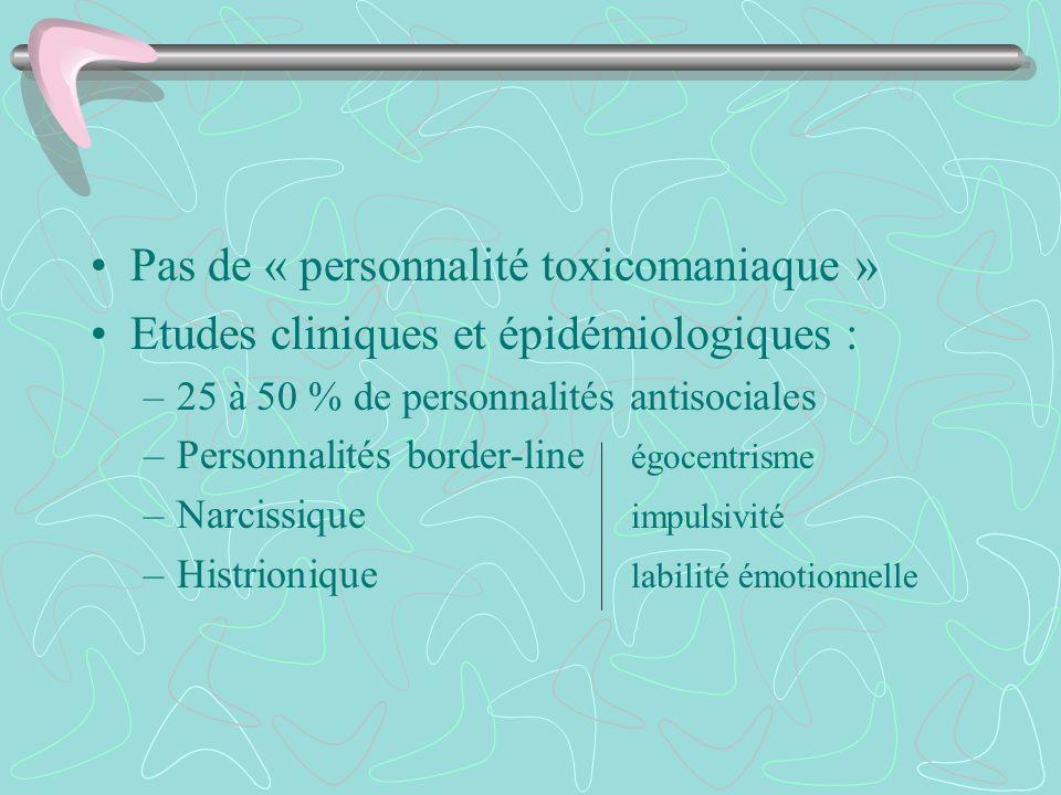 Pas de « personnalité toxicomaniaque » Etudes cliniques et épidémiologiques : –25 à 50 % de personnalités antisociales –Personnalités border-line égoc