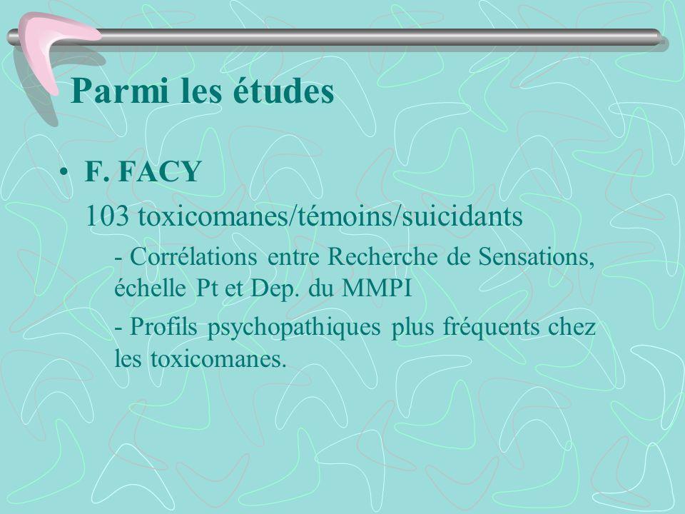 Parmi les études F. FACY 103 toxicomanes/témoins/suicidants - Corrélations entre Recherche de Sensations, échelle Pt et Dep. du MMPI - Profils psychop