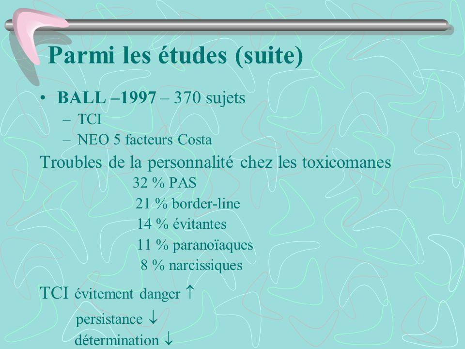 Parmi les études (suite) BALL –1997 – 370 sujets –TCI –NEO 5 facteurs Costa Troubles de la personnalité chez les toxicomanes 32 % PAS 21 % border-line