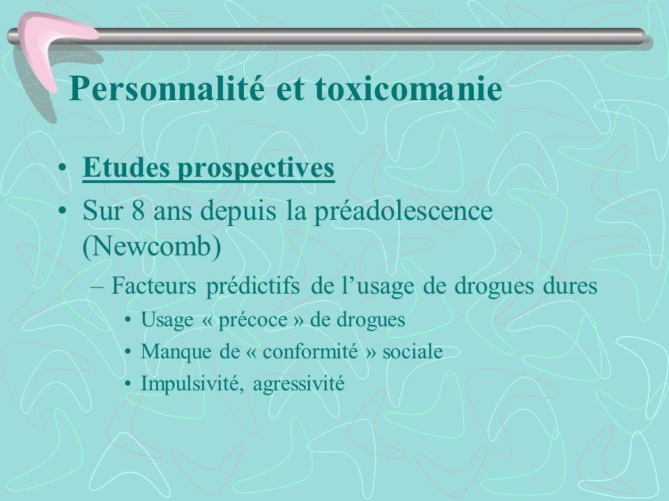 Personnalité et toxicomanie Etudes prospectives Sur 8 ans depuis la préadolescence (Newcomb) –Facteurs prédictifs de lusage de drogues dures Usage « p