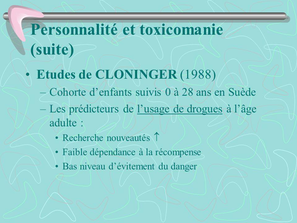 Personnalité et toxicomanie (suite) Etudes de CLONINGER (1988) –Cohorte denfants suivis 0 à 28 ans en Suède –Les prédicteurs de lusage de drogues à lâ