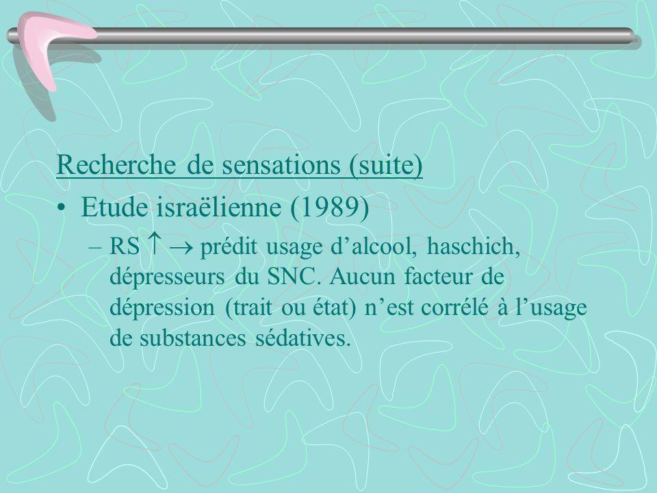 Recherche de sensations (suite) Etude israëlienne (1989) –RS prédit usage dalcool, haschich, dépresseurs du SNC. Aucun facteur de dépression (trait ou