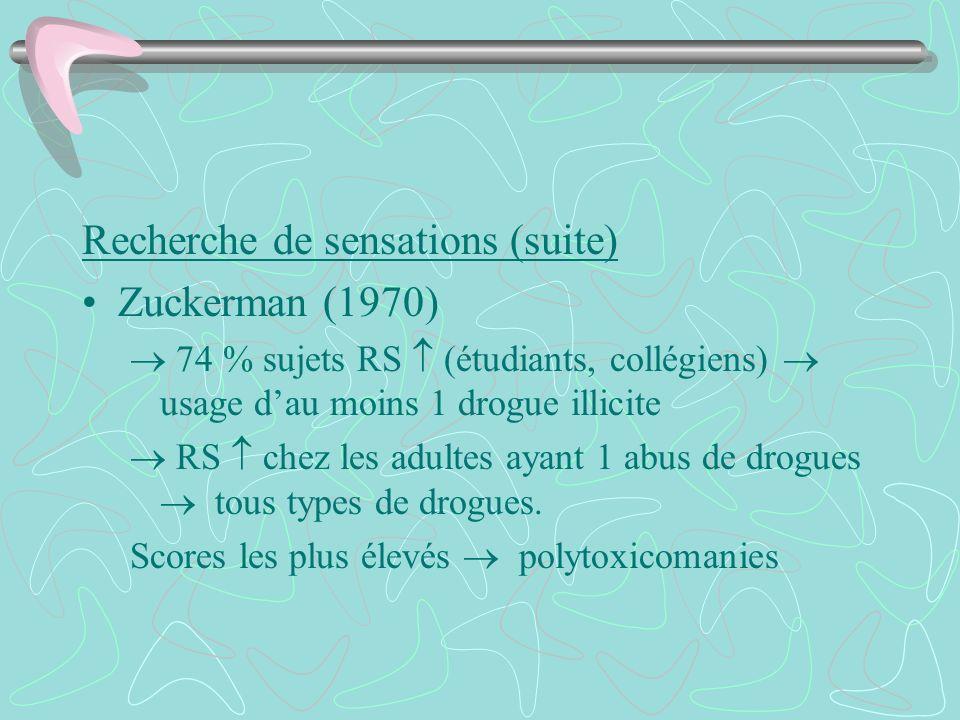 Recherche de sensations (suite) Zuckerman (1970) 74 % sujets RS (étudiants, collégiens) usage dau moins 1 drogue illicite RS chez les adultes ayant 1