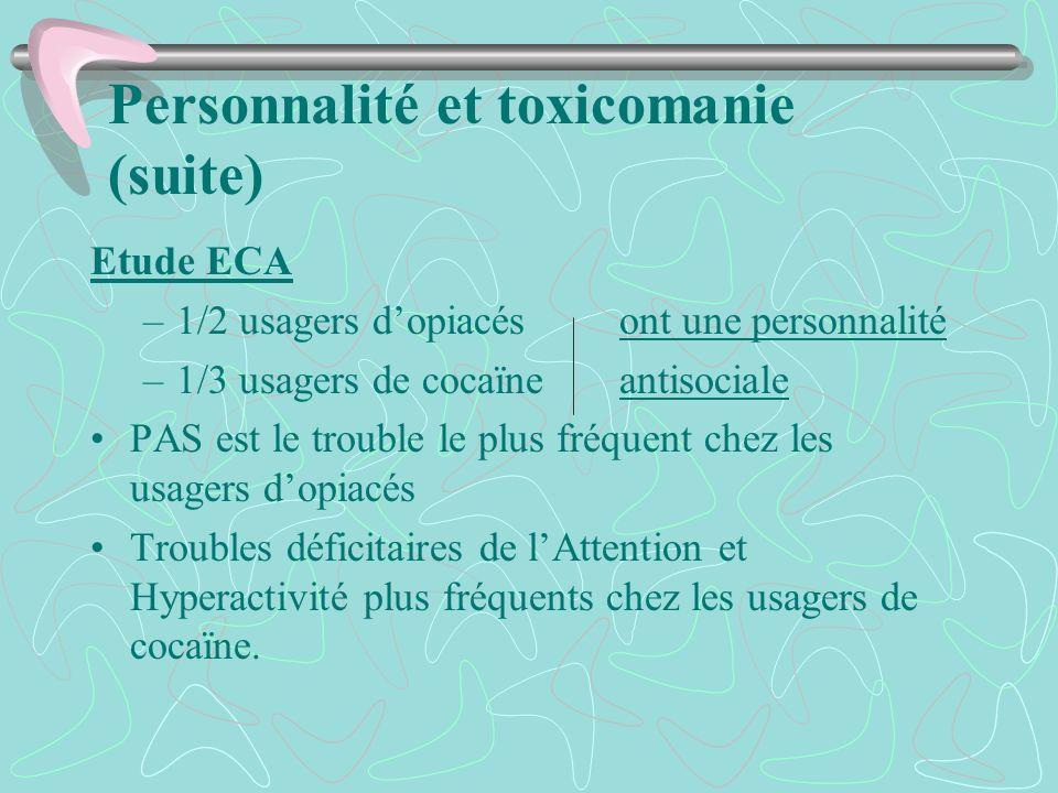 Personnalité et toxicomanie (suite) Etude ECA –1/2 usagers dopiacésont une personnalité –1/3 usagers de cocaïneantisociale PAS est le trouble le plus