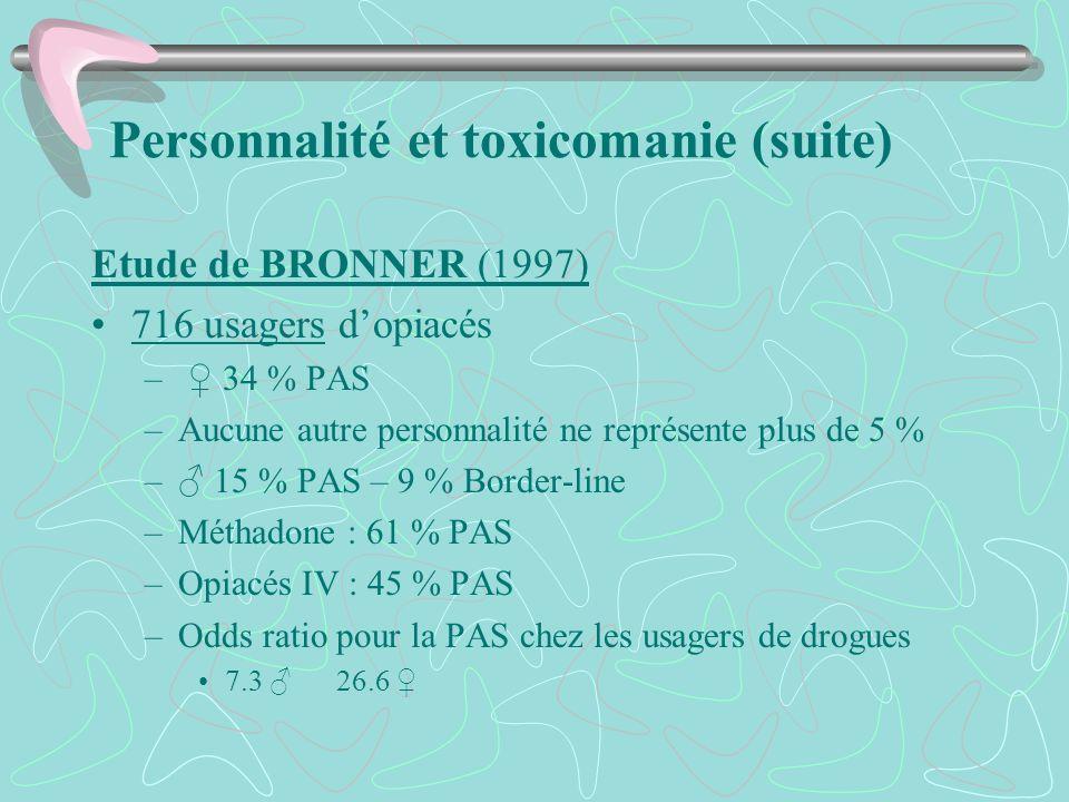 Personnalité et toxicomanie (suite) Etude de BRONNER (1997) 716 usagers dopiacés – 34 % PAS –Aucune autre personnalité ne représente plus de 5 % – 15