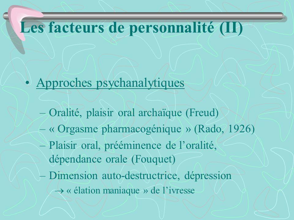 Les facteurs de personnalité (II) Approches psychanalytiques –Oralité, plaisir oral archaïque (Freud) –« Orgasme pharmacogénique » (Rado, 1926) –Plais