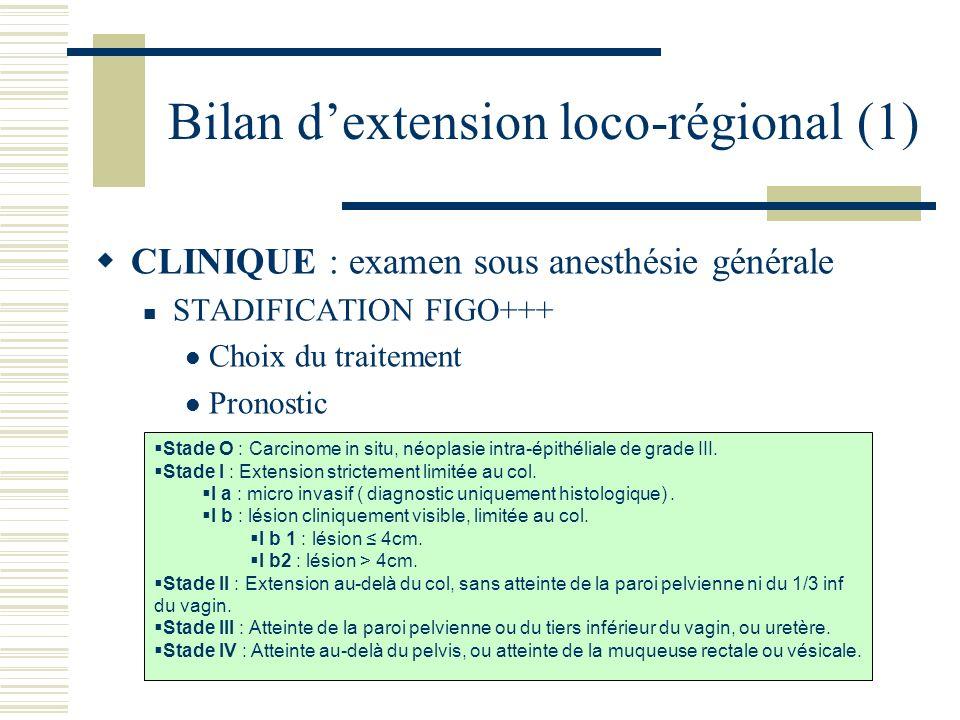 Bilan dextension loco-régional (1) CLINIQUE : examen sous anesthésie générale STADIFICATION FIGO+++ Choix du traitement Pronostic Stade O : Carcinome