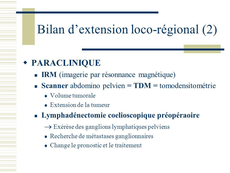 Bilan dextension loco-régional (2) PARACLINIQUE IRM (imagerie par résonnance magnétique) Scanner abdomino pelvien = TDM = tomodensitométrie Volume tum