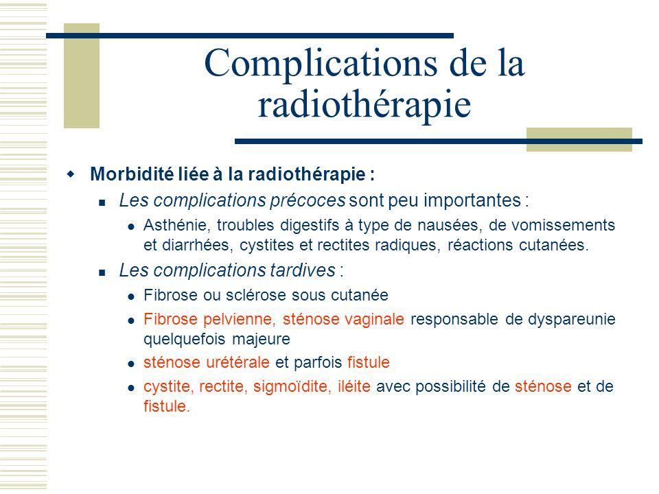 Complications de la radiothérapie Morbidité liée à la radiothérapie : Les complications précoces sont peu importantes : Asthénie, troubles digestifs à