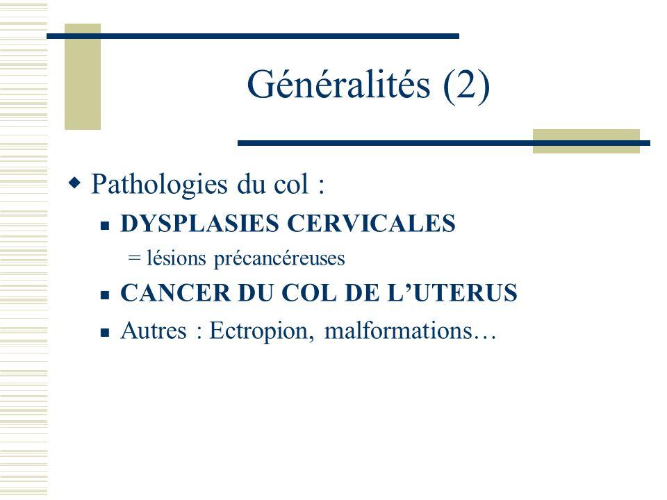Généralités (2) Pathologies du col : DYSPLASIES CERVICALES = lésions précancéreuses CANCER DU COL DE LUTERUS Autres : Ectropion, malformations…