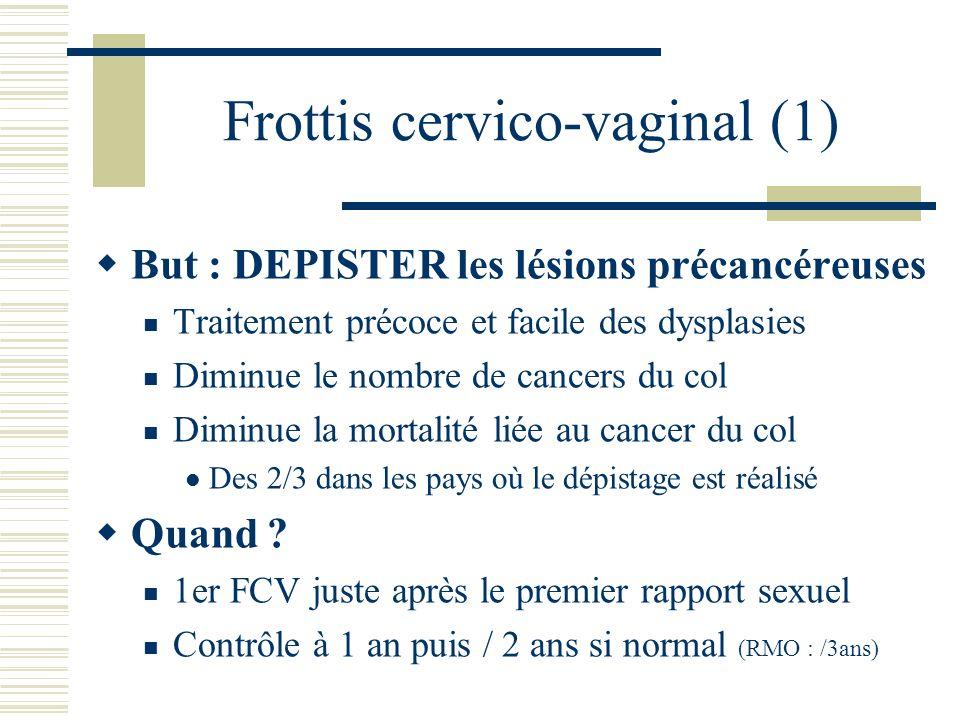 Frottis cervico-vaginal (1) But : DEPISTER les lésions précancéreuses Traitement précoce et facile des dysplasies Diminue le nombre de cancers du col