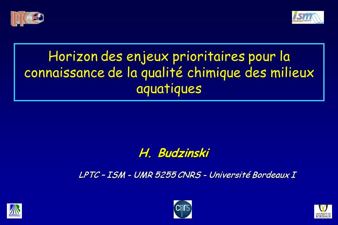 Horizon des enjeux prioritaires pour la connaissance de la qualité chimique des milieux aquatiques H. Budzinski LPTC – ISM - UMR 5255 CNRS - Universit